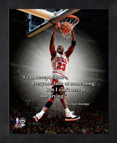 "Michael Jordan ""Trying"" Chicago Bulls FRAMED 16x20 PRO QUOTES PRINT - Photofile"