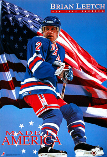 "Brian Leetch ""Made in America"" New York Rangers Poster - Costacos 1993"