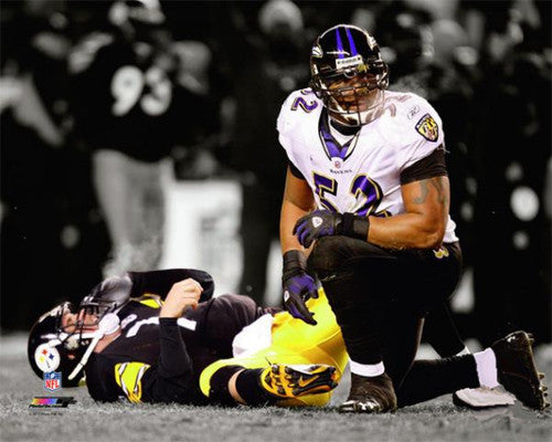 "Ray Lewis ""Down Goes Ben"" (2009) Baltimore Ravens Premium Poster Print - Photofile 20x24"