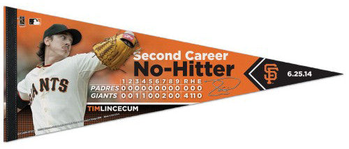 Tim Lincecum Second Career No-Hitter San Francisco Giants Premium Felt Collector's Pennant