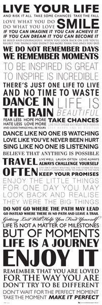 Live Your Life HUGE Door-Sized Motivational Inspirational Wisdom Phrases Poster - GB Eye