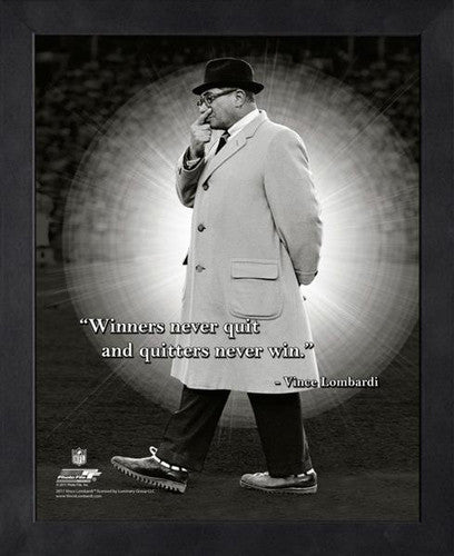 "Vince Lombardi ""Quitters Never Win"" Green Bay Packers FRAMED 16x20 PRO QUOTES PRINT - Photofile"