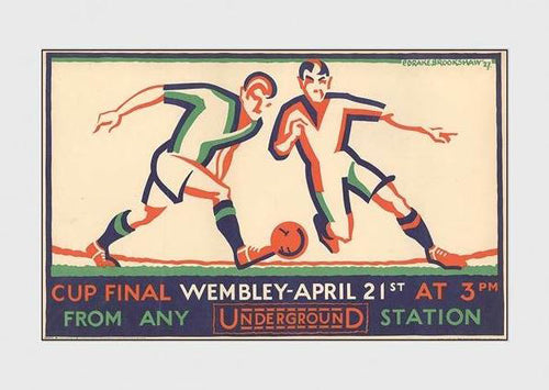 FA Cup Final at Wembley Stadium Classic 1927 London Tube Soccer Poster Reprint - Transport London (UK)