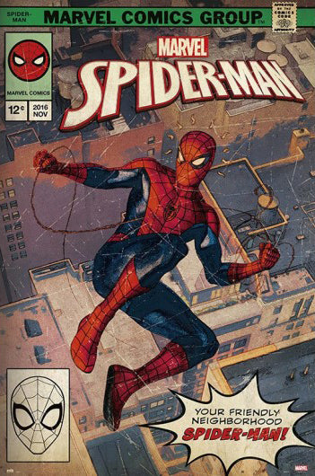 "Spider-Man ""Friendly Neighborhood"" Vintage-Style Marvel Comics Cover Poster - Grupo Erik"