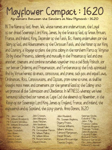 The Mayflower Compact 1620 American History Poster - Jaguar Educational