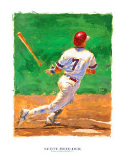 "Baseball Art ""Base Hit Classic"" Art Poster by Scott Medlock - McGaw Graphics 2001"
