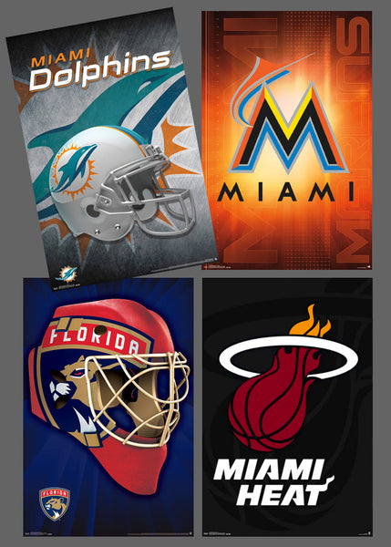 COMBO: Miami, Florida Pro Sports Teams 4-Poster Combo (Dolphins, Heat, Panthers, Marlins)
