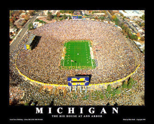 "Michigan Stadium ""From Above"" Wolverines Gameday Aerial Poster - Aerial Views Inc."