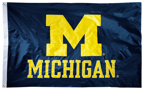 Michigan Wolverines Official NCAA Premium Nylon Applique 3'x5' Flag - BSI Products Inc.