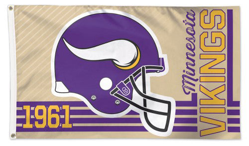"Minnesota Vikings ""1961"" Retro Collection Official NFL Football Deluxe 3'x5' Team Flag - Wincraft Inc."