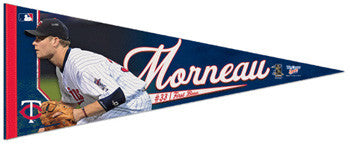 "Justin Morneau ""Action"" Premium Felt Collector's Pennant (LE /2010) - Wincraft"