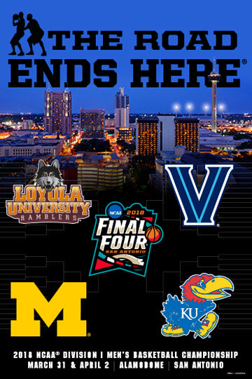 NCAA Men's Basketball Championships 2018 FINAL FOUR Official Poster (Loyola, Michigan, Villanova, Kansas) - ProGraphs