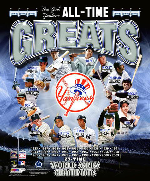 "New York Yankees ""All-Time Greats"" (13 Legends, 27 World Series Championships) Premium Poster Print"