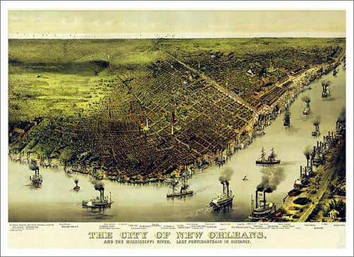 New Orleans, Louisiana 1885 Classic Aerial Panorama Premium Poster Print (Currier and Ives)