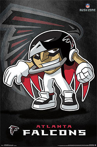 "Atlanta Falcons ""Rusher"" (NFL Rush Zone Character) Official Poster - Costacos Sports"