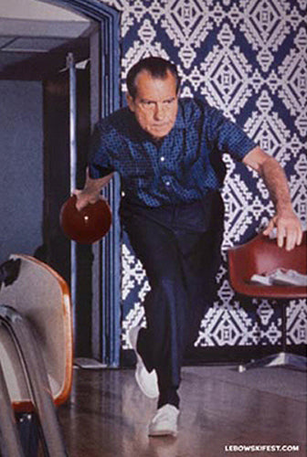 Richard Nixon Bowling in White House c.1970 Poster (Big Lebowski The Dude's Poster)