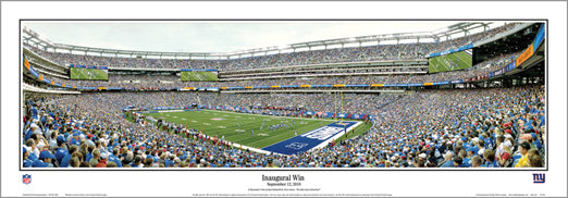 "New York Giants ""Inaugural Win"" (9/12/2010) MetLife Stadium Panoramic Poster - Everlasting"