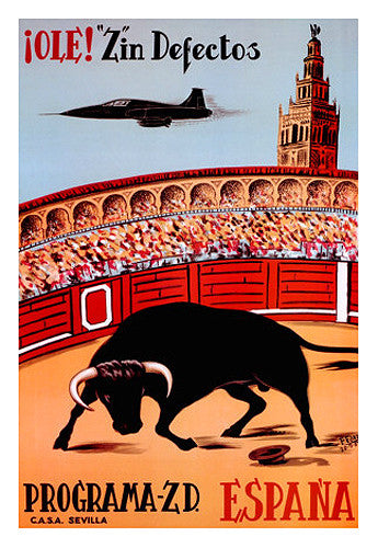 "Bullfighting in Spain ""Ole! Z in Defectos"" (1967) Vintage Poster Reprint - Avenue A Cards"