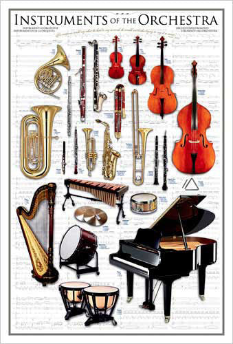 Instruments of the Orchestra Wall Chart Poster - Eurographics Inc.