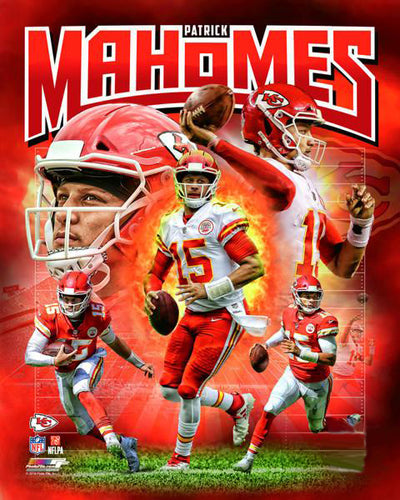 "Patrick Mahomes ""Power Profile"" Kansas City Chiefs Premium NFL Poster Print - Photofile 16x20"