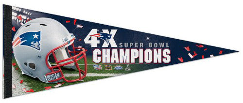 New England Patriots 4-Time Super Bowl Champions Premium Felt Collector's Pennant