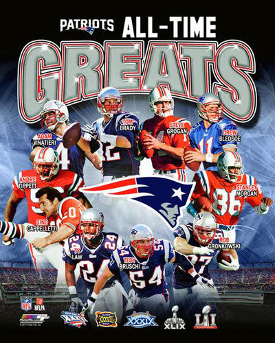 New England Patriots All-Time Greats (10 Legends, 5 Super Bowls) Premium Poster Print