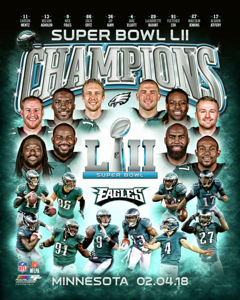 Philadelphia Eagles Super Bowl LII Champions 10-Player Premium Poster Print - Photofile