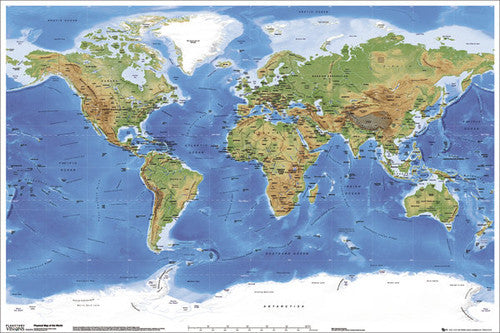 Planetary Visions Physical Map of the World (Miller Cylindrical Projection) Wall POSTER - GB Eye