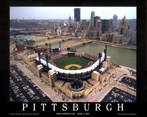 Pittsburgh Pirates PNC Park Opening Day Premium Poster Print - Aerial Views 2001