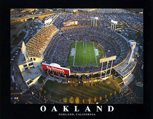 Oakland Raiders O.co Stadium NFL Football Game Night Poster Print - Aerial Views 2003