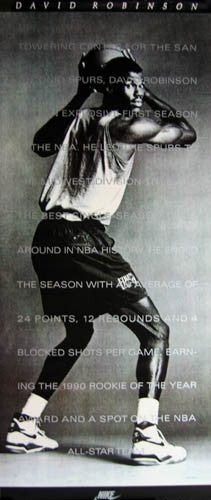 "David Robinson ""Rookie of the Year"" San Antonio Spurs HUGE Door-Sized Poster - Nike 1990"