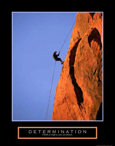 "Rock Climbing ""Determination"" Motivational Poster - Front Line"