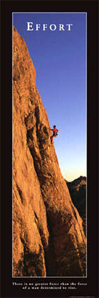 "Rock Climbing ""Effort"" Motivational Poster - Front Line 2007 (12x36)"