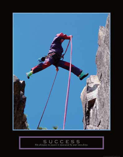 "Rock Climbing ""Success"" Motivational Poster - Front Line"