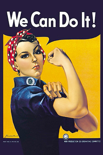 "Rosie the Riveter ""We Can Do It!"" by J. Howard Miller WWII Vintage Poster Reprint (24""x36"")"