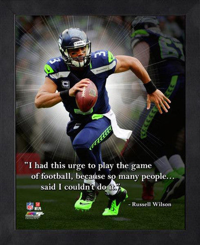 "Russell Wilson ""The Urge to Play"" Seattle Seahawks FRAMED 16x20 PRO QUOTES PRINT - Photofile"