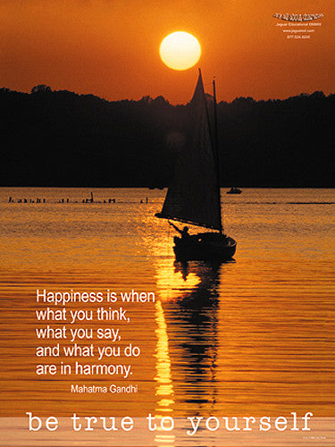 "Sailing ""Be True To Yourself/Happiness"" Motivational Inspirational Poster - Jaguar Inc."