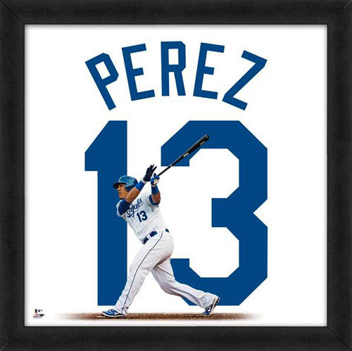 "Salvador Perez ""Number 13"" Kansas City Royals MLB FRAMED 20x20 UNIFRAME PRINT - Photofile"