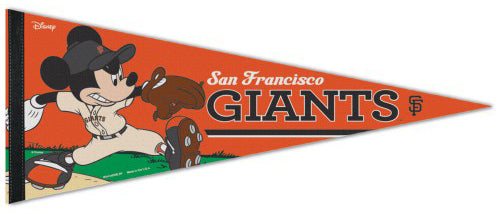 "San Francisco Giants ""Mickey Mouse Flamethrower"" Official MLB/Disney Premium Felt Pennant - Wincraft Inc."
