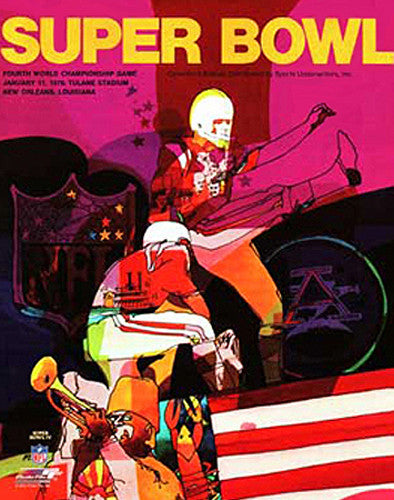 Super Bowl IV (1970) Official Event Poster Premium Reprint Edition - Photofile Inc.