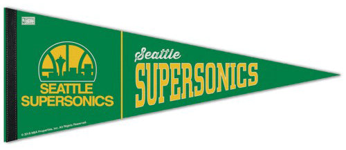 Seattle Supersonics Retro-1980s-Style NBA Basketball Premium Felt Pennant - Wincraft Inc.