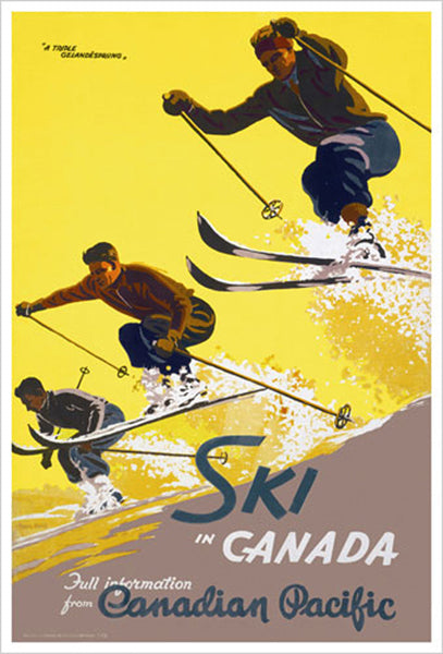 "Ski in Canada ""Triple Gelandesprung"" c.1938 Canadian Pacific Railways Vintage Travel Poster Reprint"