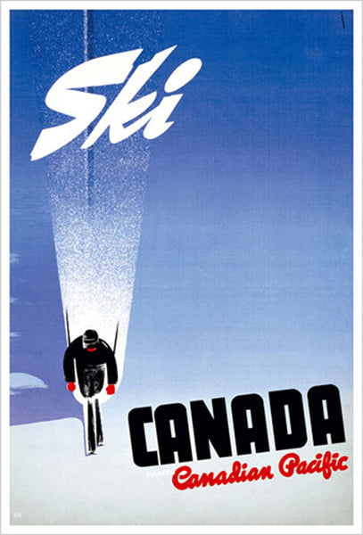 "Ski Canada ""Powder & Sky"" c.1950 Canadian Pacific Travel Poster Reprint - Eurographics Inc."