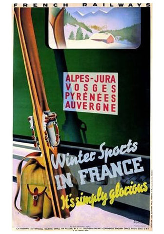 "Skiing ""Winter Sports in France"" French Alps Travel Poster c.1936 by R. Hugon Large Reproduction Print"