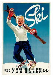 Ski New England (New Haven Railroad) Vintage 1945 Poster Reprint - A.A.C. Inc.