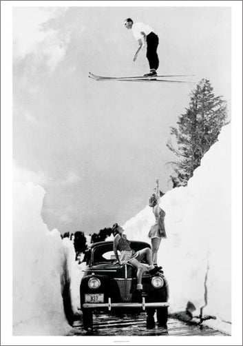 "Skiing Jumper ""Impressing the Ladies"" (Mt. Lassen, CA, 1942) Vintage Poster Reprint - Mountain Chalet"