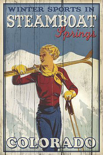 "Skiing ""Winter Sports in Steamboat Springs"" Poster Print - Image Source"