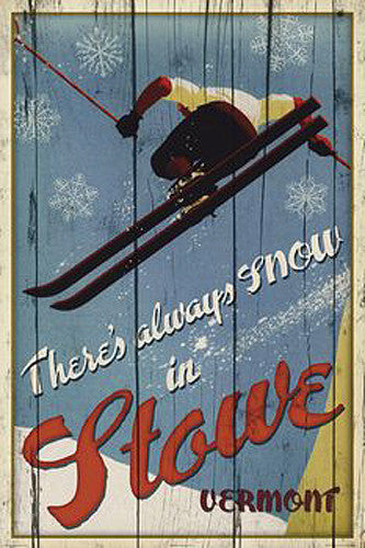 "Skiing Stowe, Vermont ""Always Snow"" Poster Print - Image Source"