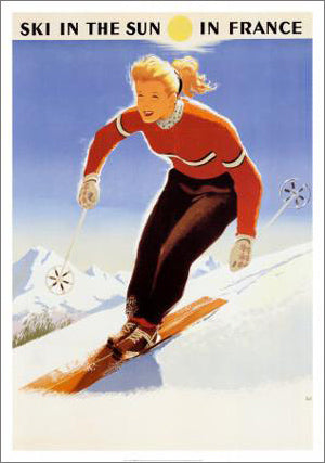 Ski in the Sun in France (c.1950) OVERSIZED Vintage Poster Reprint