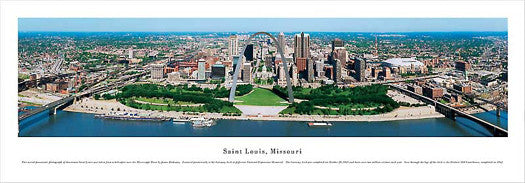 "St. Louis, Missouri ""Arch and Beyond"" Panoramic Skyline Poster - Blakeway"